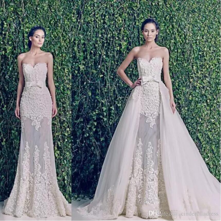 2020 Vintage Zuhair Murad Wedding Dresses with Detachable Train Over Skirts Sweetheart Backless Applique Lace Vintage Plus Size Bridal Gowns