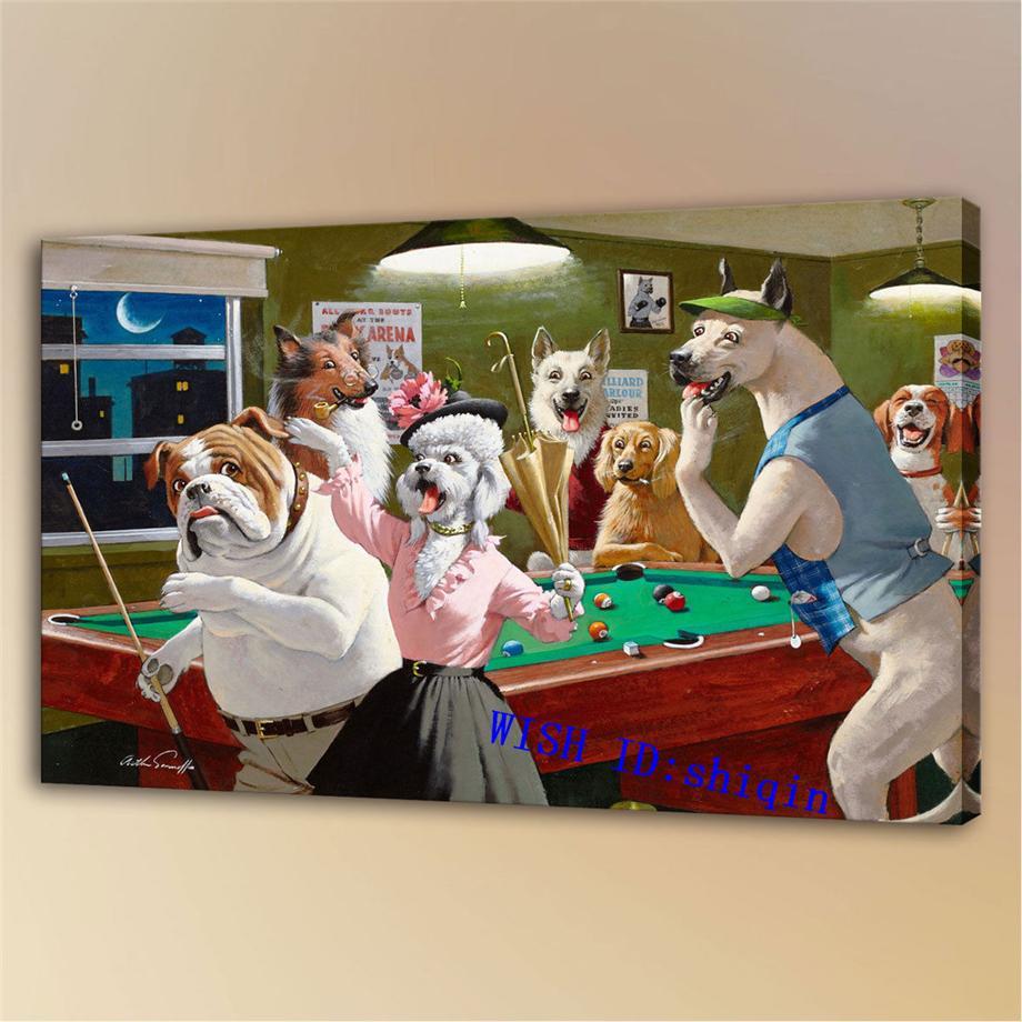 Perros que juegan al billar -4, Impresión en lienzo HD Nueva decoración del hogar Pintura de arte / (sin marco / enmarcada)