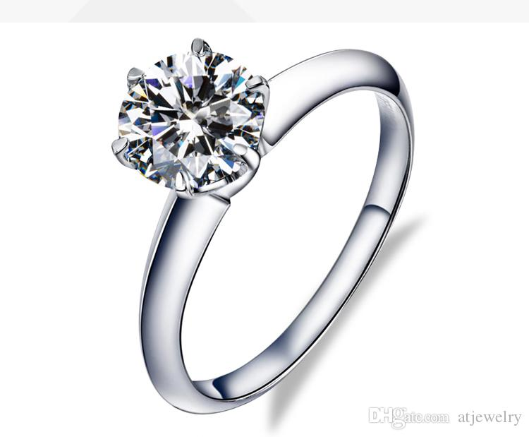 Venta directa de fábrica 18 k Oro blanco Real anillos de oro macizo Moissanite Certified Diamond Ring anillos de compromiso para mujer anillos al por mayor