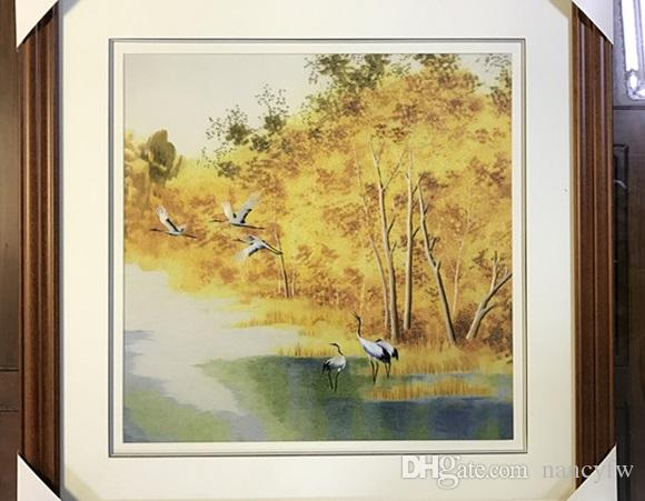 Handmade Art Crafts 100% Mulberry Silk Thread Finished Suzhou Embroidery not include frame ,Wedding Gifts ,birch forest ,35*35cm