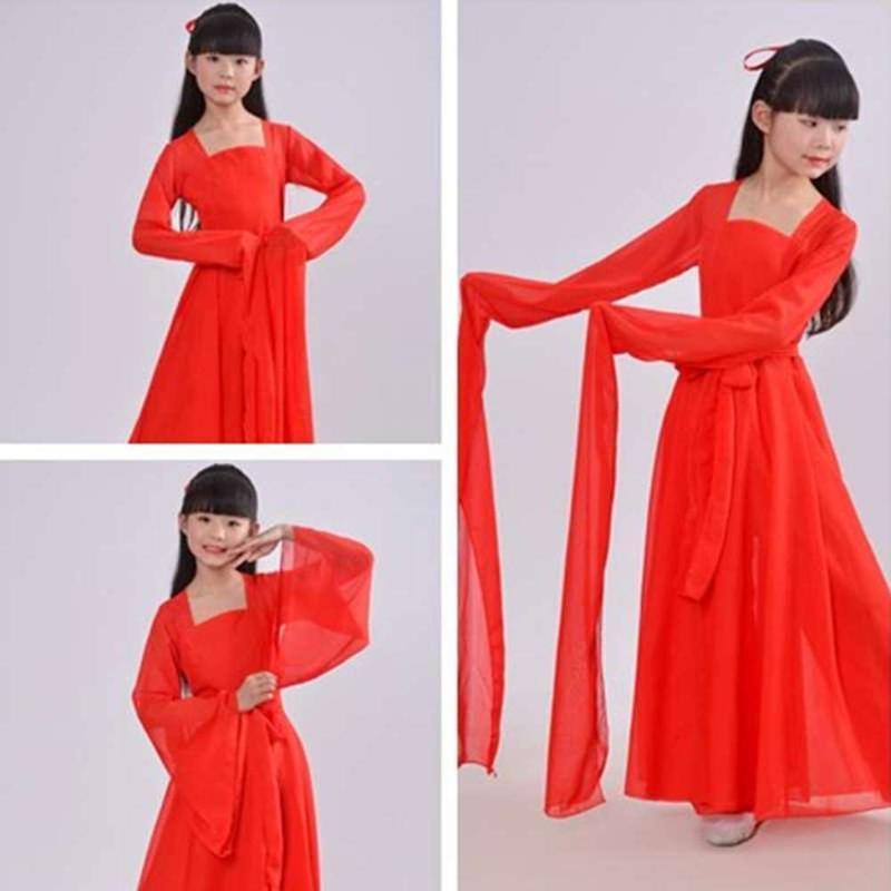 Blanc Rouge chinoise robe Hanfu fille cosplay style chinois fées danse enfants filles manches longues costume de danse pour les enfants