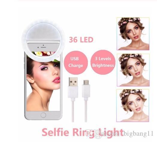 Bigbang embelezar a pele LED selfie Luz Anel Com Fotografia USB cobrar até flash luminoso Lâmpada para o iPhone Samsung telefone no clipe