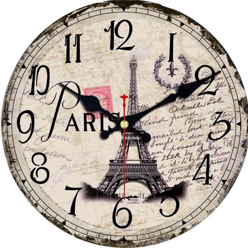 Старинные Парижские Пейзажи Полотенце Часы Тихая Гостиная Кухня Прохладные Часы Home Decor Saat Wall Art Большие Часы Не Тикают