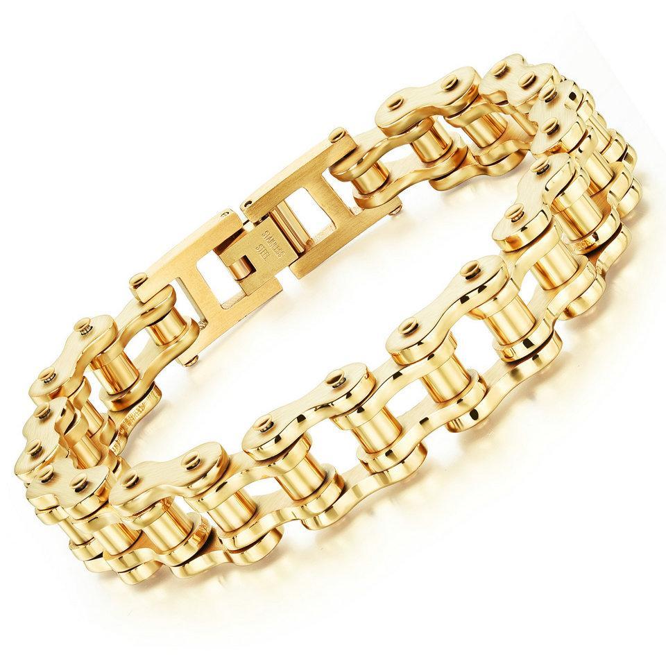 pulseira de ouro jóias homens pulseira de titânio pulseira de aço rocha personalidade locomotiva pulseira de corrente de bicicleta para o presente