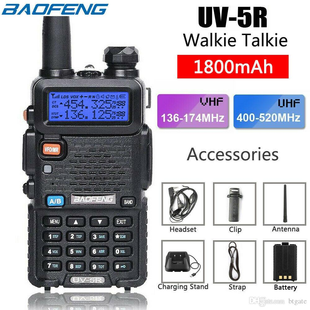 BaoFeng Walkie Talkie UV-5R UV5R Dual Band 136-174Mhz 400-520Mhz Two Way Radio Transceiver with 1800mAH Battery US Stock
