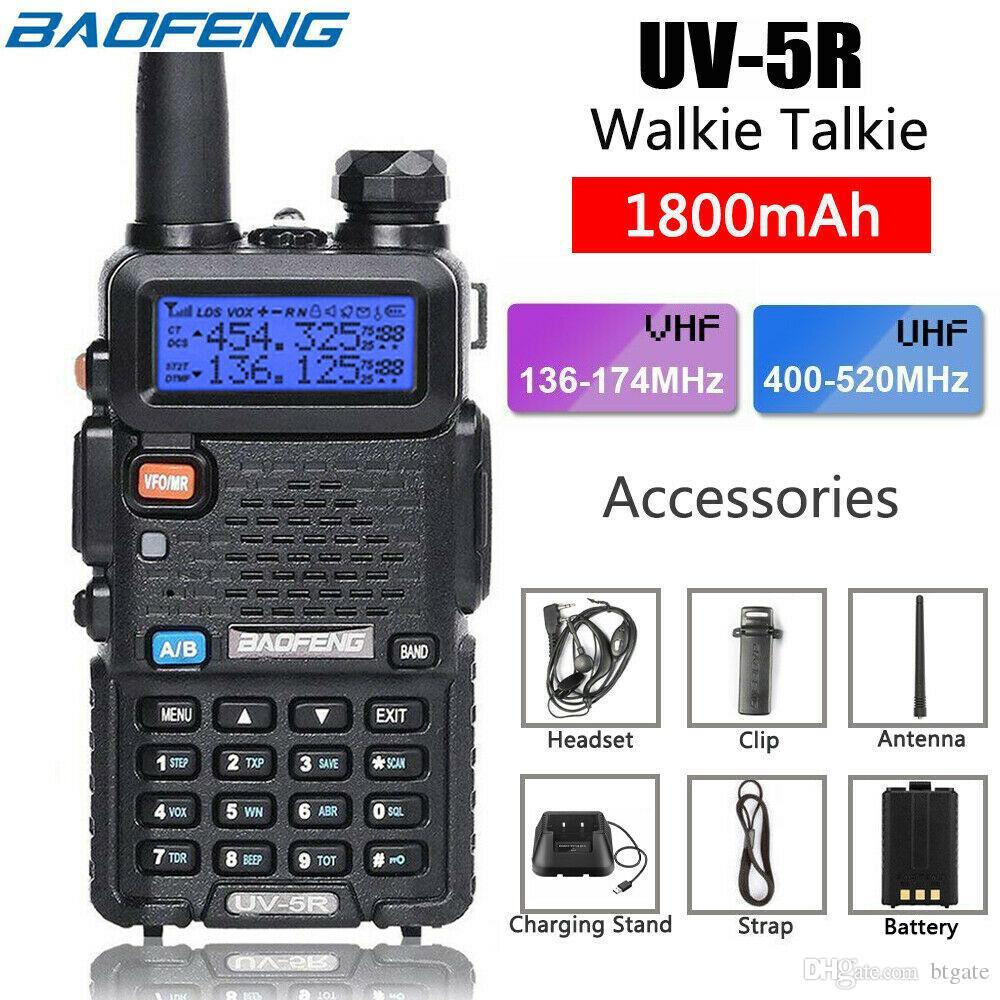 BaoFeng Walkie Talkie UV-5R UV5R двухдиапазонный 136-174 МГц 400-520 МГц двухсторонний радиоприемник с батареей 1800 мАч на складе США
