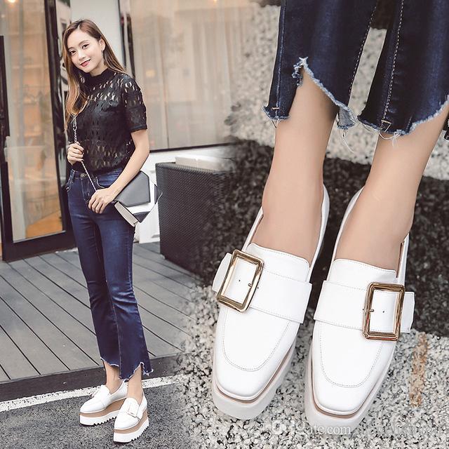 2019 sonbahar yeni kare toka ayakkabı tembel setleri rahat takozlar tek ayakkabı