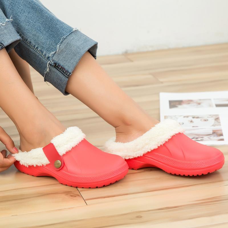 Unisex Warm Lined Slippers Home Waterproof Indoor And Outdoor Garden Shoes 2020 Winter Warm Home slipper Woman Floor Slides