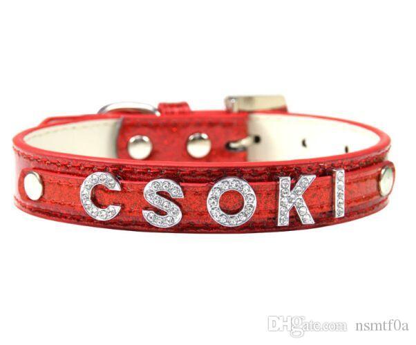 Individuelle Dog Name Collar 10mm Slider Personalisierte Glänzendes PU-Leder Pet Supplies Kragen Kristall Schnalle 6 Farben Wholesale Hundezubehör