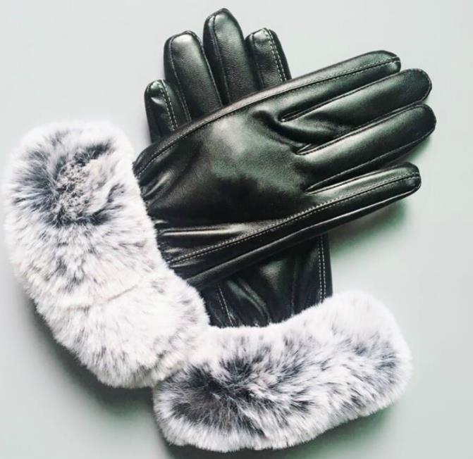 Guanti luminosi in pelle di montone moda donna nuovi di zecca Guanti antigelo antivento per donna caldo inverno moda calda