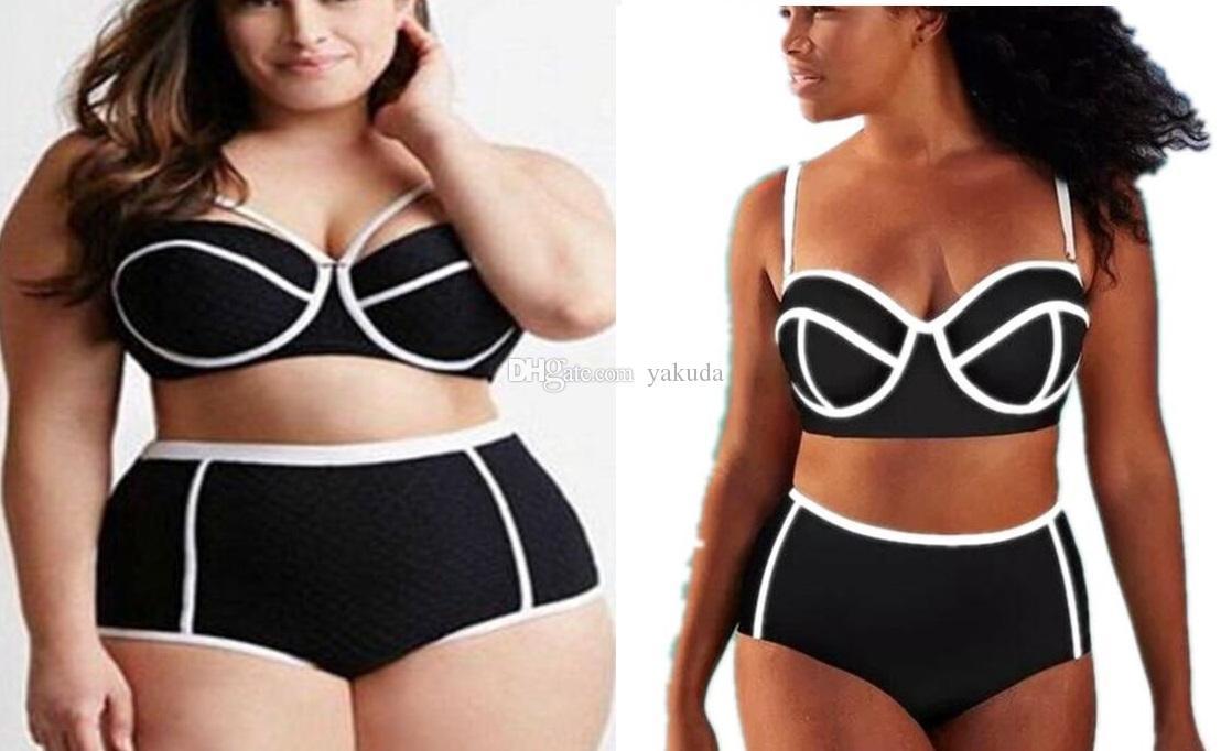 Top fashion girl ladies women plus Big high waisted fat stripe print one piece Bikini Sets swimwear Triangle Sexy flexible stylish swim wear