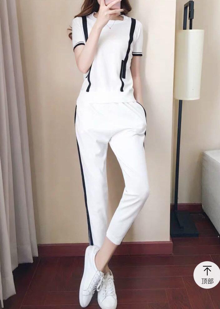 2020 высокое качество женские брюки наборы топы + брюки 2 шт. весна и лето повседневные наборы модная одежда E26R