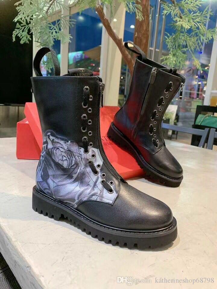 les talons hauts lastest haute qualité Bottines femme en cuir véritable Chaussures Martin Bottes Nouveau automne hiver Bottes moto 269