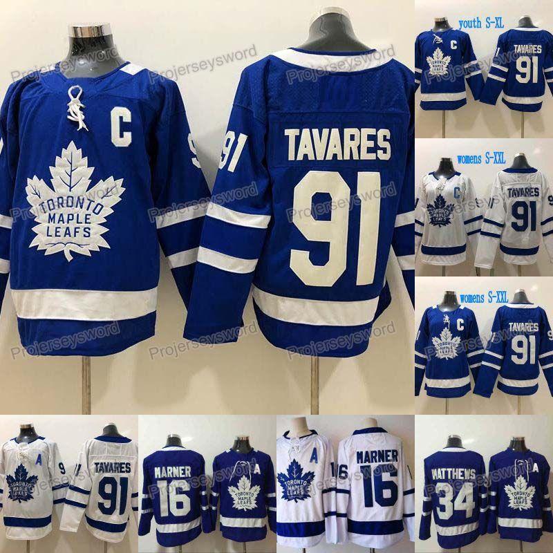 2019 Nuovo 91 John Tavares capitano C Patch Toronto Maple Leafs Jersey 16 Mitch Marner 34 Auston Matthews delle donne degli uomini gioventù scherza il pullover del hokey