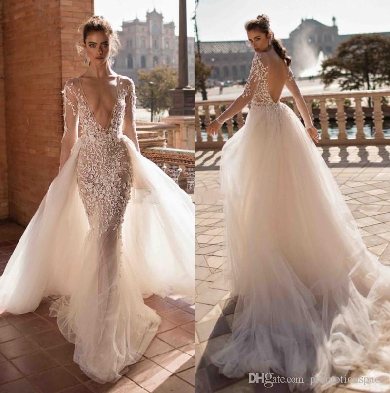 2020 Berta sirène Backless Robes de mariée col en V profond à manches longues Dessus de jupe Bohème Robes de mariée Tulle Plus Size Boho Vestidos De Novia