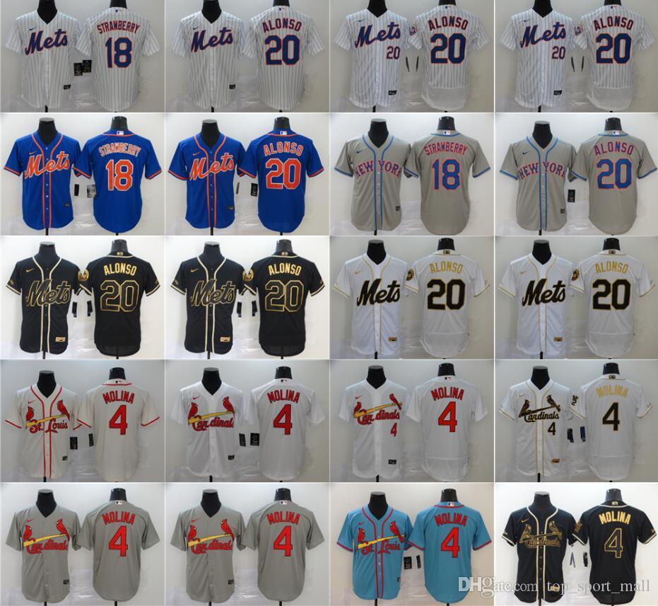 2020 New Baseball 4 Yadier Molina Jersey Männer Flexbasis kühle niedrige 20 Pete Alonso 18 Darryl Strawberry Alle genähtes Blau Grau Weiß Schwarz