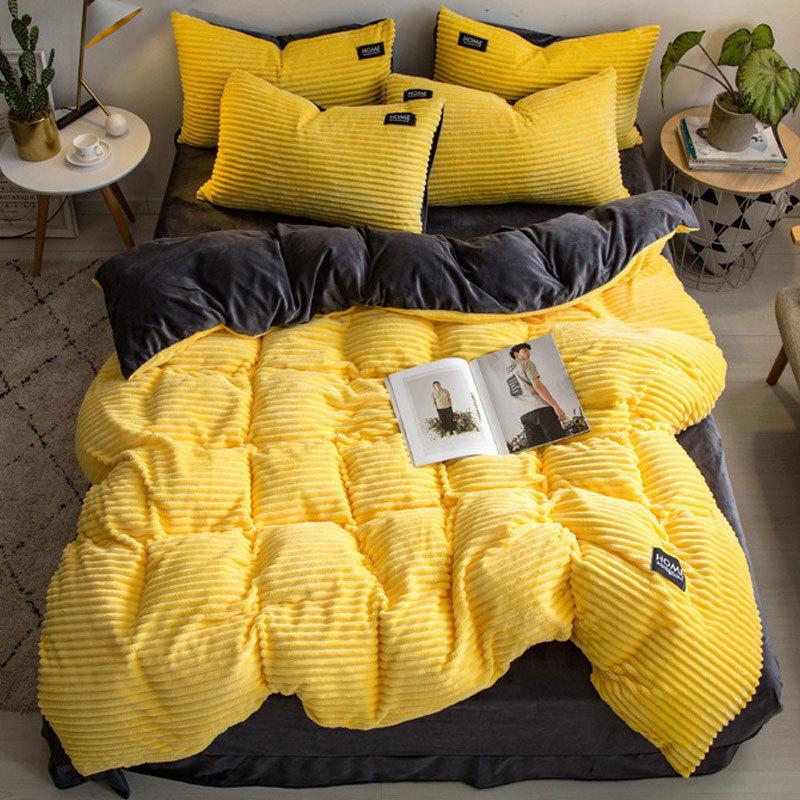 Basit flanel kadife yatak seti 4 adet Kraliçe katı Nevresim Kristal kadife çarşaf yastık kış kalın sıcak yorgan kapak T200422