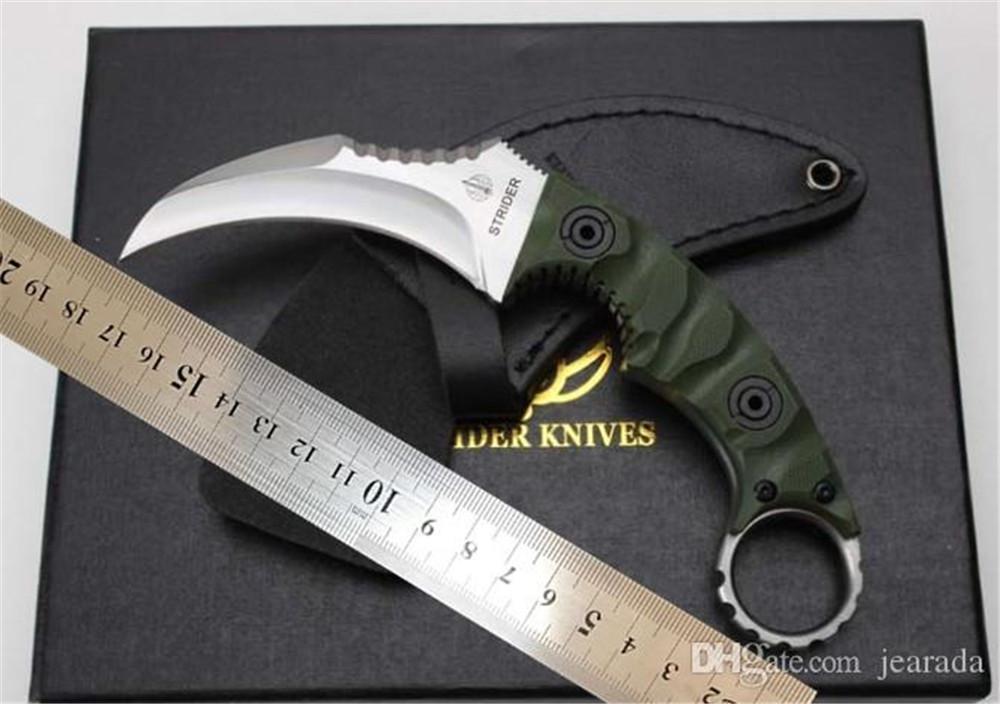 cuchillo de la garra de Karambit Strider D2 fijada cuchillo de hoja exterior mango del cuchillo G10 supervivencia acampar táctica con la envoltura de cuero