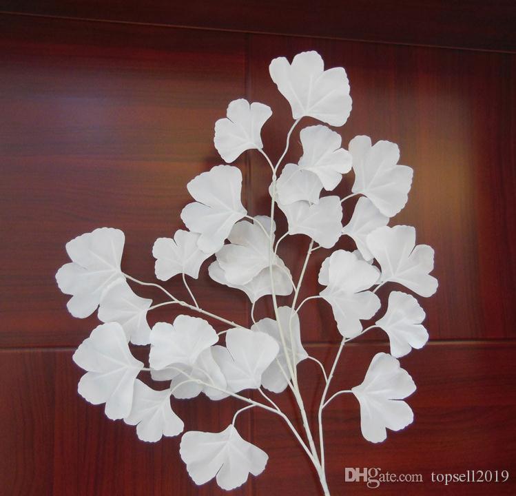 Apoyos de boda blancos decoraciones de fondo de escenario flor Blanco ginkgo biloba artificial Blanco hojas SN2014