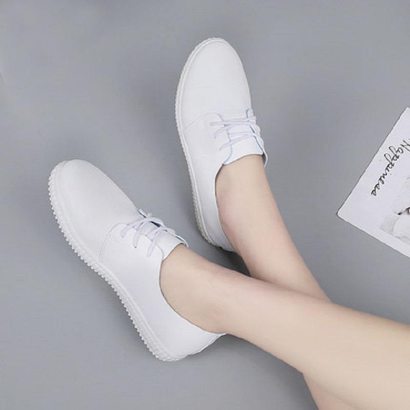 2019 nouvelle mode chaussures simples femmes occasionnels fond plat chaussures polyvalentes creux tendance respirant blanc