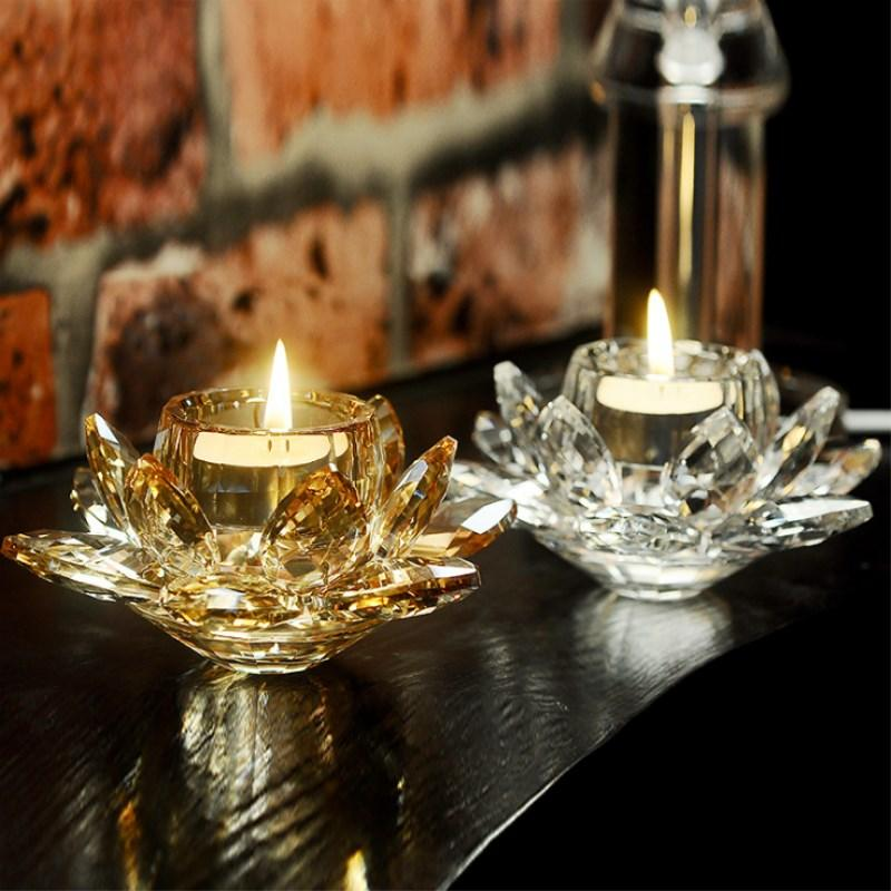 Crystal Glass Lotus Flower Candle Light Holder Buddhist Candlestick Kids Gift