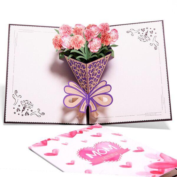 2019 Pop Up Cards Mothers Day Gifts Card I Love Mom Carnation Flowers Bouquet Greeting Cards For Mother Birthday Card Mail Gift Card Blank Gift Cards