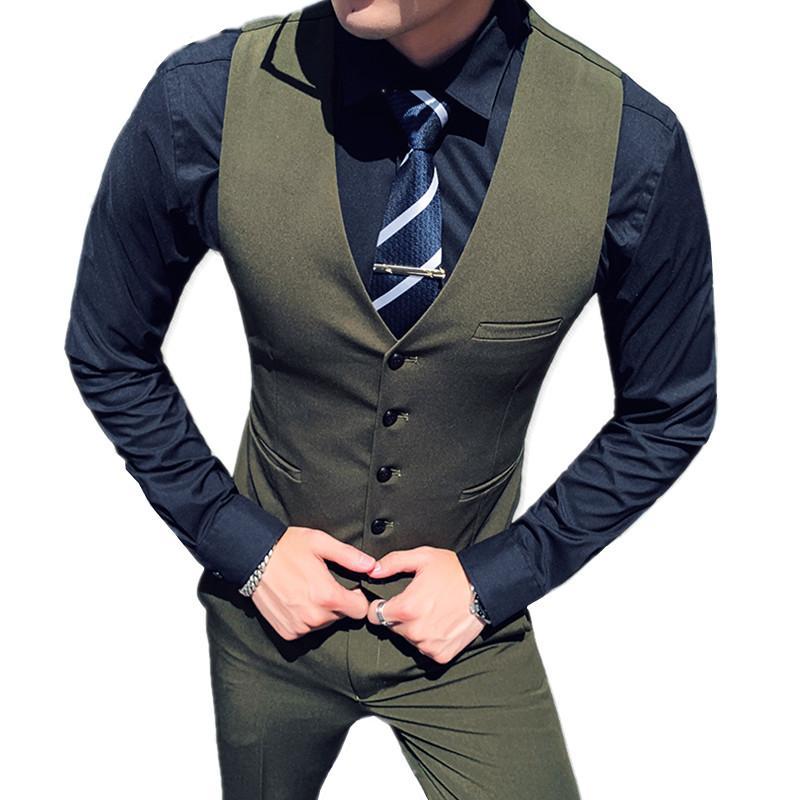 verde para hombre traje pantalón y chaleco banquete de boda negocio conjunto chaleco chalecos pantalones blancos negros grises 2020 nuevos pantalones de hombres chalecos