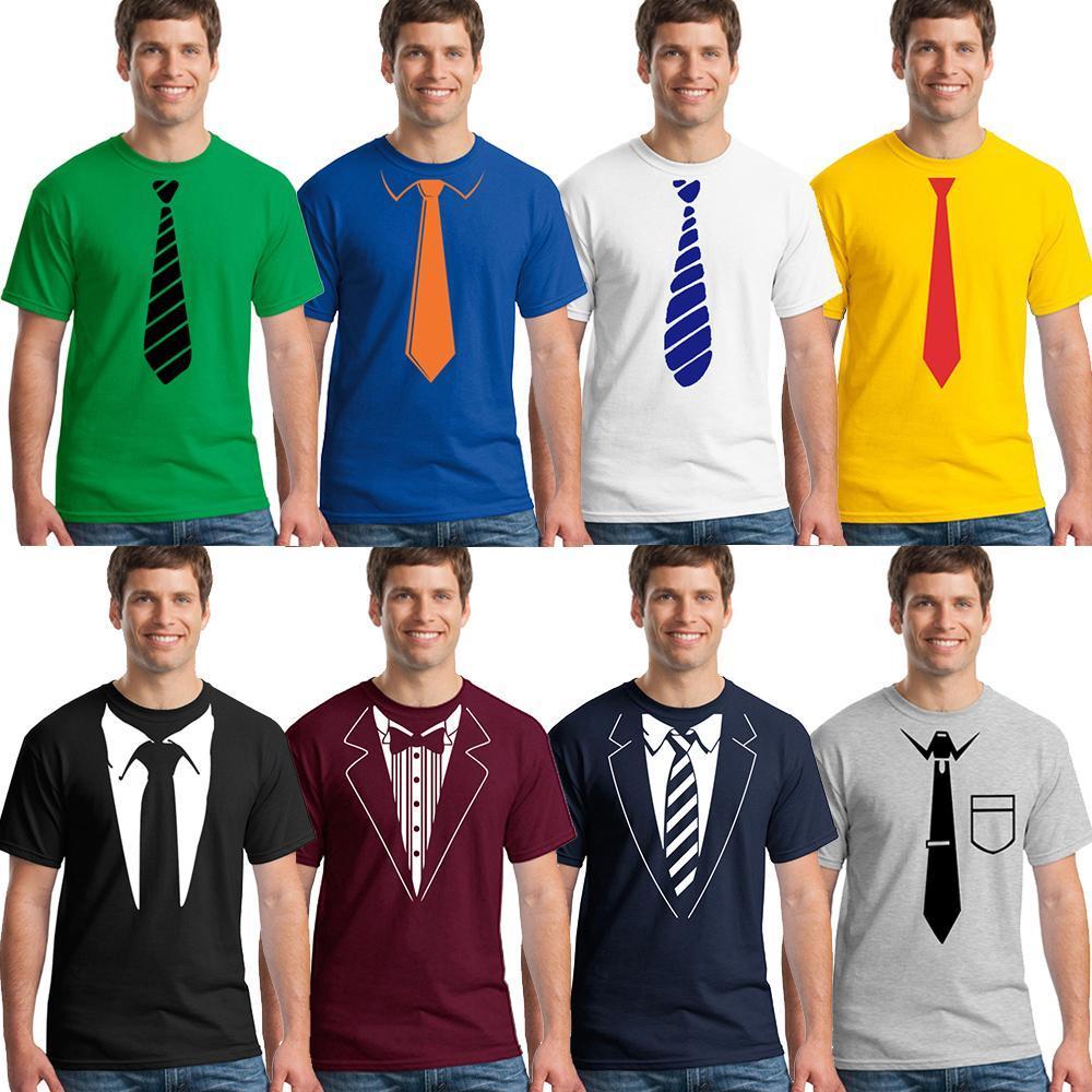 Yaz Sahte Takım Kravat Baskı T Gömlek Koleksiyonu 3D Yüksek Kaliteli Adam Marka Moda Pamuk T -Shirt Komik Kravat Tişörtleri Mens Tasarımcısı XS-3XL