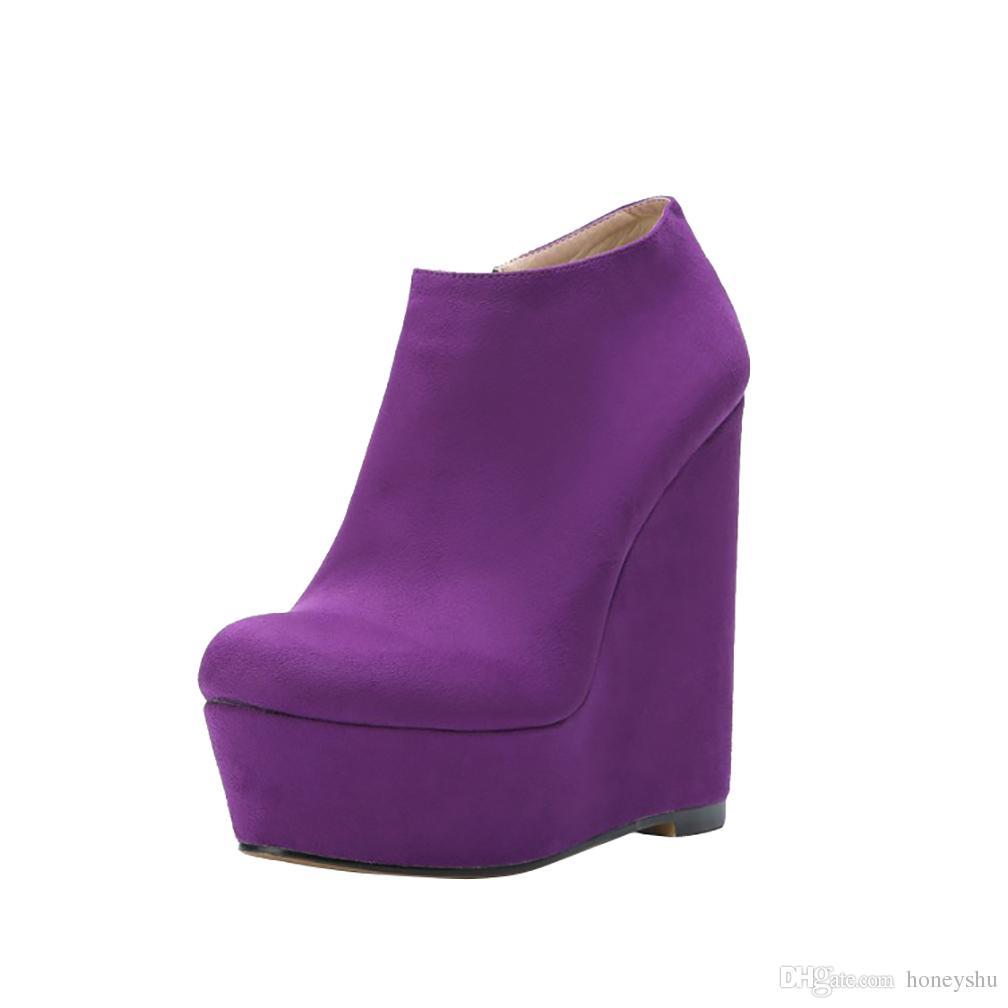 Kolnoo السيدات اليدوية wadge كعب مضخات طفل الغزال حفلة موسيقية اللباس أحذية المنخفضة قطع منصة الخريف الأزياء مضخات الأحذية n057