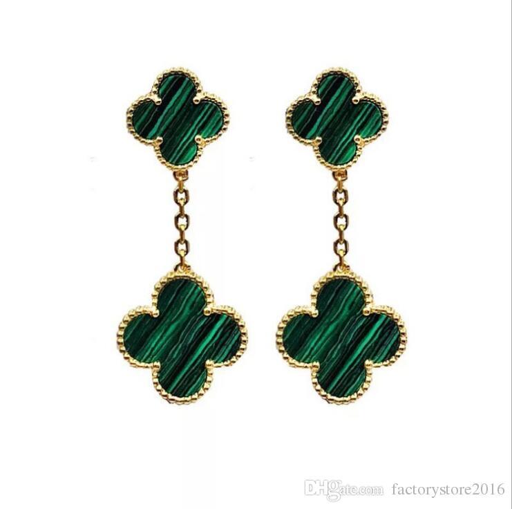 Mode en acier inoxydable cuivre boucles d'oreilles pendantes de trèfle à quatre feuilles pour le concepteur de luxe double bijoux de trèfle