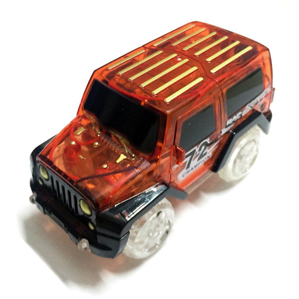 Electronic Car Toy LED light up Cars for Glow Race Track Flashing Kid Railway Luminous Machine Track Car brinquedos