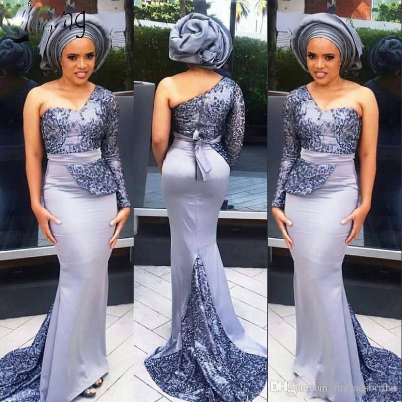 Festa à noite um ombro manga comprida Prom Dresses Sereia Trem da varredura Aso Ebi Nigéria Vestido Lace Applique Africano Vestido
