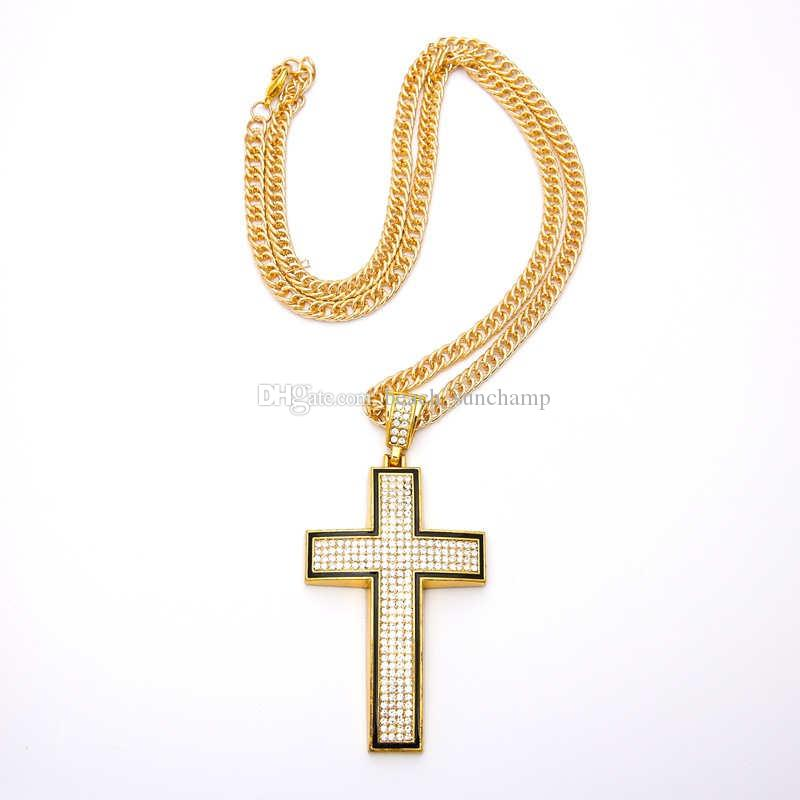 Tide Cross Shape Necklaces Ins Unisex Jewelrys Classic 2 Colors Alloy Necklaces With Rhinestone Girls Birthday Presents Free Shipping Hot