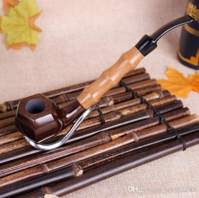 Гексагональной твердой древесины полировки эбонитовые большие трубы высокого класса мужские высокого качества Эбони фильтр трубы бамбука труба