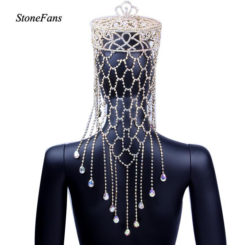 StoneFans cristalino chispeante Tiara de boda de lujo del tocado de corona de la novia redondo Grande CJ191226 joyas de la reina del desfile de Ronda pelo de la corona