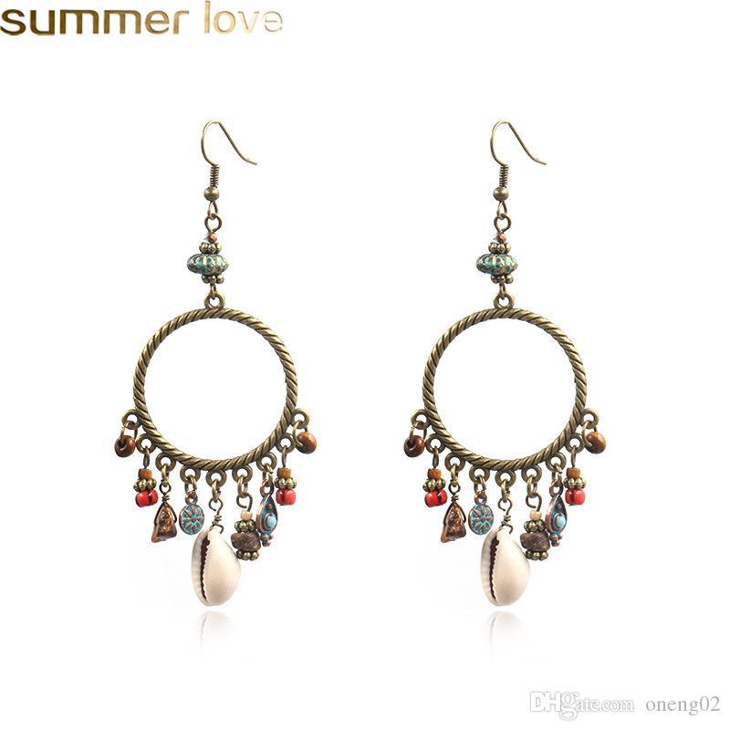 Vendita calda orecchini a cerchio di conchiglie con perline per le donne perline di legno conchiglia e orecchini gioielli fatti a mano in pietra naturale orecchino