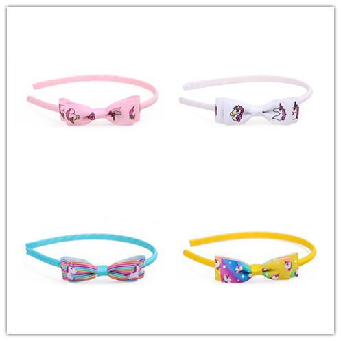 Boutique ins 10pcs Fashion Cute Unicorn Ribbon Bow Hairbands Solid Bowknot Hair Sticks Princess Headwear Hair Accessories