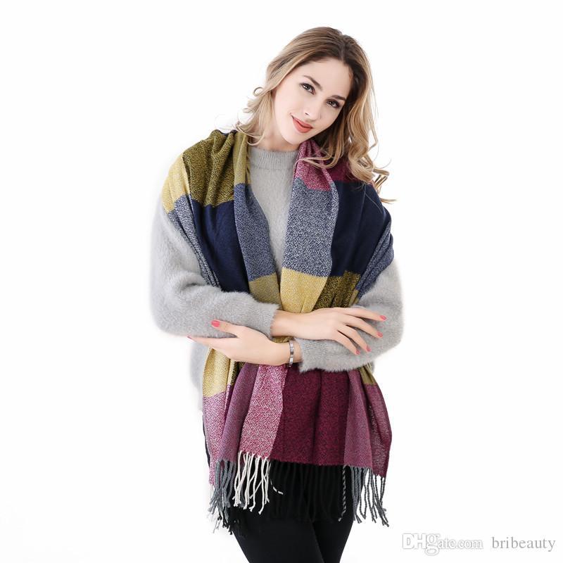 Sciarpa di inverno di nuova moda per le donne di alta qualità calda sciarpa lunga grande calda femminile plaid di cachemire sciarpe di spessore