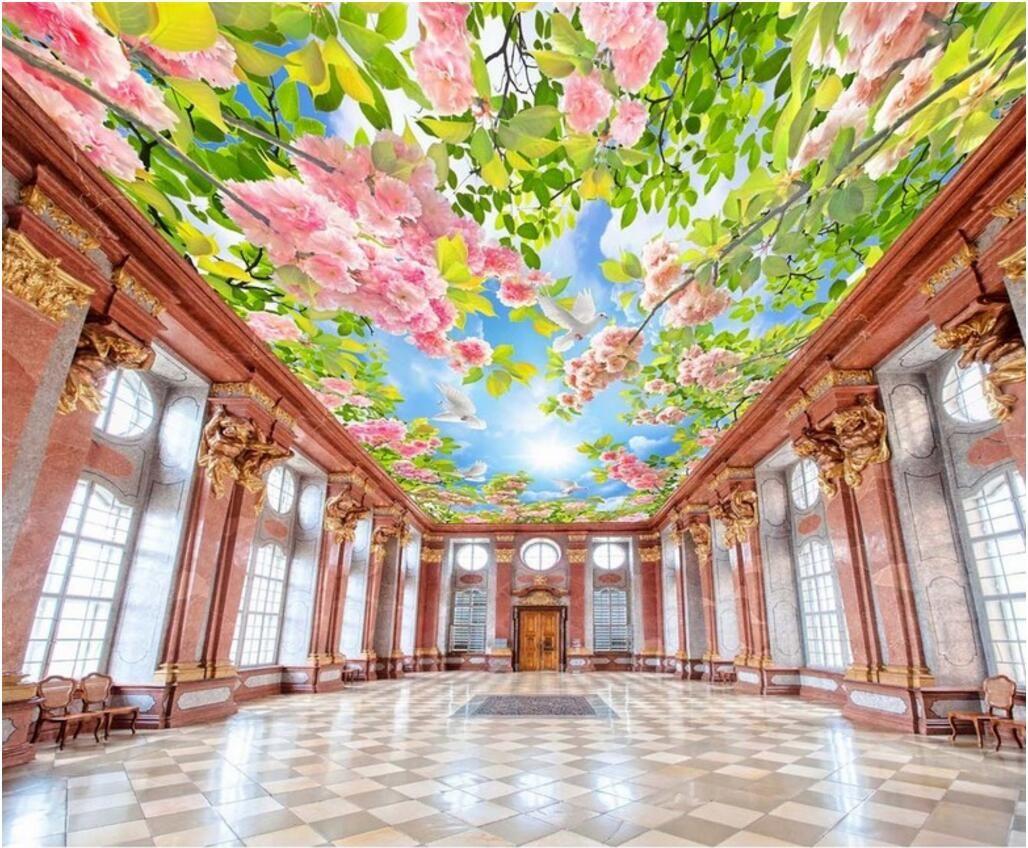 3d Ceiling Murals Wallpaper Custom Photo Hd Flowers Green Leaves