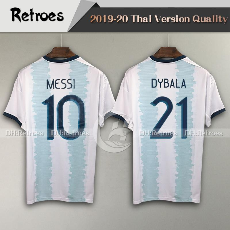2019 Copa America Аргентина Домой Синий Белый Футбол Джерси 19 20 # 10 Футбольная рубашка MESSI # 9 AGUERO DYBALA футболка с коротким рукавом