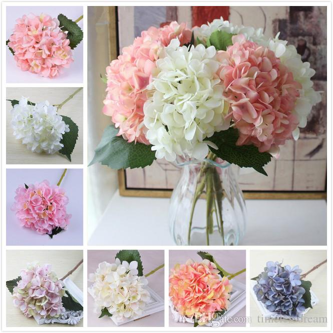 18 colors artificial hydrangea flower fake silk single real touch bouquet hydrangeas for wedding centerpieces home party decorative flower