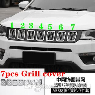 High quality ABS chrome 7pcs car grill decoration cover,protection frame for Jeep compass 2017-2019