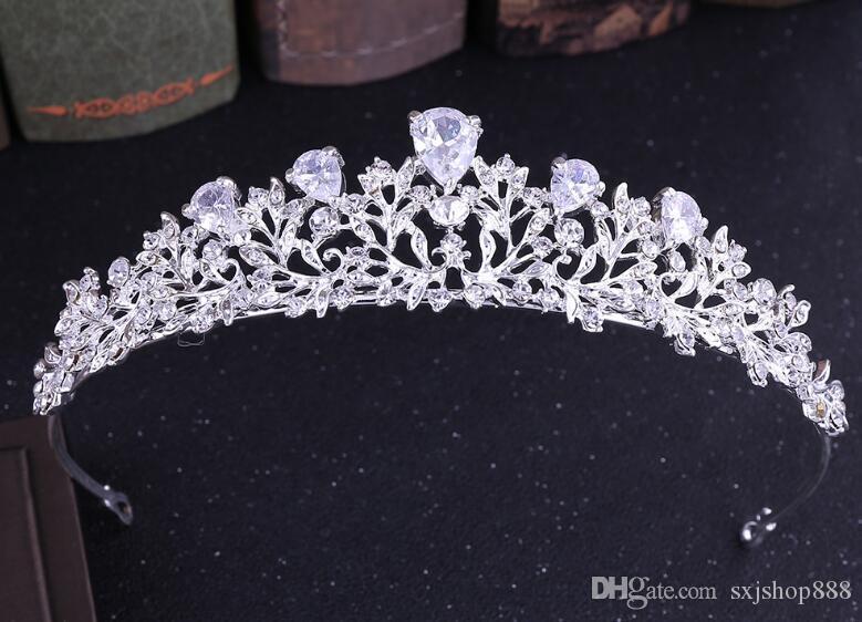 Braut Legierung Krone Zirkon Blumenart koreanischen Diamant-Tiara Haarband Hochzeit Zubehör