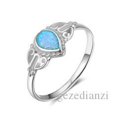 European and American Simple Fashion Silver Plated Opal Round Elegant Women Ring Thanksgiving Gift Size 5-12