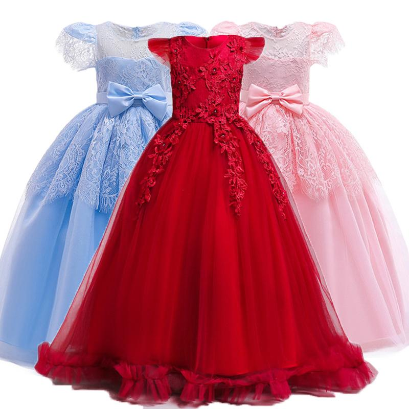 Kids Bridesmaid Wedding Flower Girls Dress For Girls Elegant Princess Party Dresses Children Birthday Costume Teenagers Clothing Y19061701