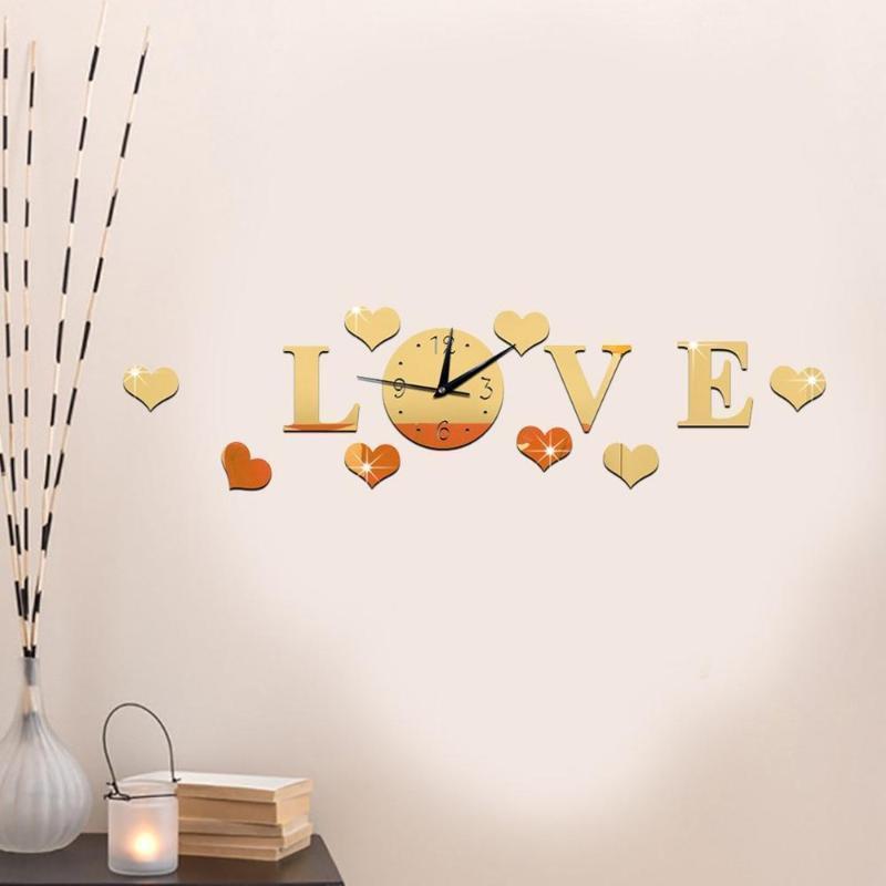 Acrílico Amor Espelho Relógio De Parede Quarto Sala De Estar Amiga Do Ambiente Relógio De Parede Amovível