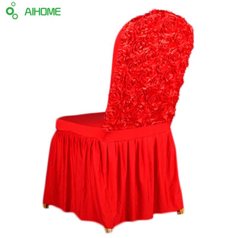 cubiertas de la silla cubierta de la silla nueva decoración casera Spandex Rosas elásticas para una boda de la navidad fuentes de la fiesta de banquetes del hotel 1PCS