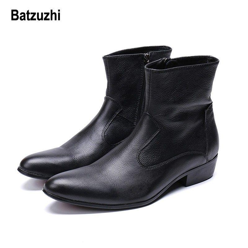 Batzuzhi Western Cowboy Uomo Stivali Caviglia Nero Stivali Invernali In Vera Pelle Uomini Scarpe di Sicurezza botas hombre Cool Big Size US6-12