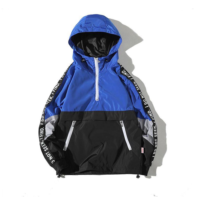 Sfondo bianco con cappuccio Jk06 Primavera Loose-Fit Pocket cappotto del rivestimento impermeabile Jacket Pullover Studenti Coppie abbigliamento di affari