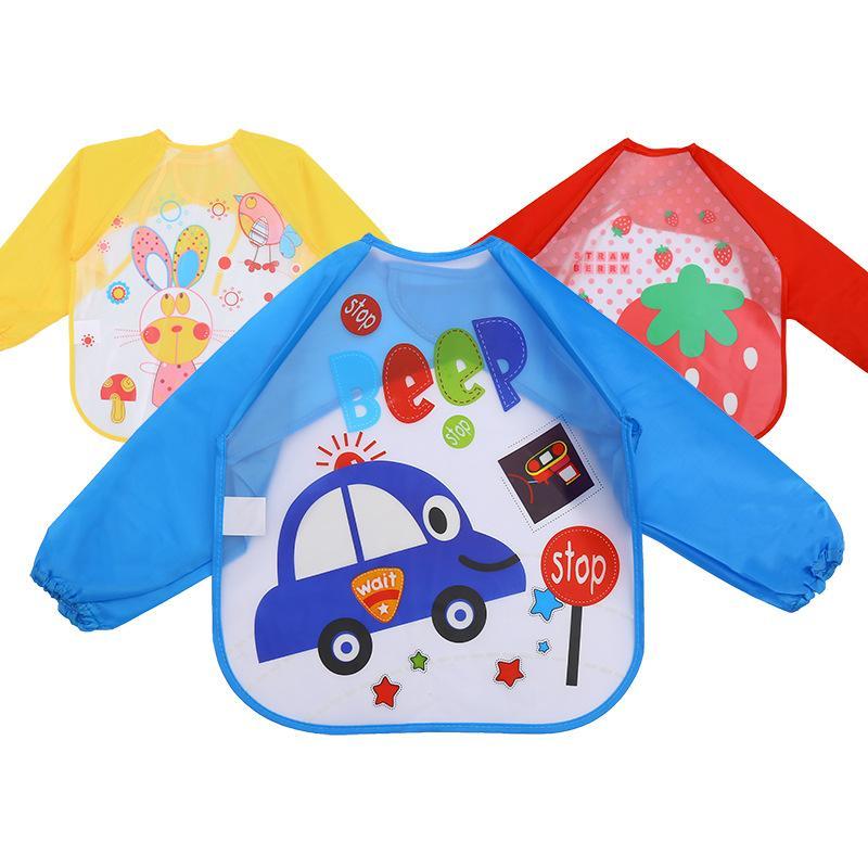 아기 만화 코트 어린이 방수 옷 어린이 앞치마 먹이 피복 1-5 년 동안 긴 소매 Bibs LLA12